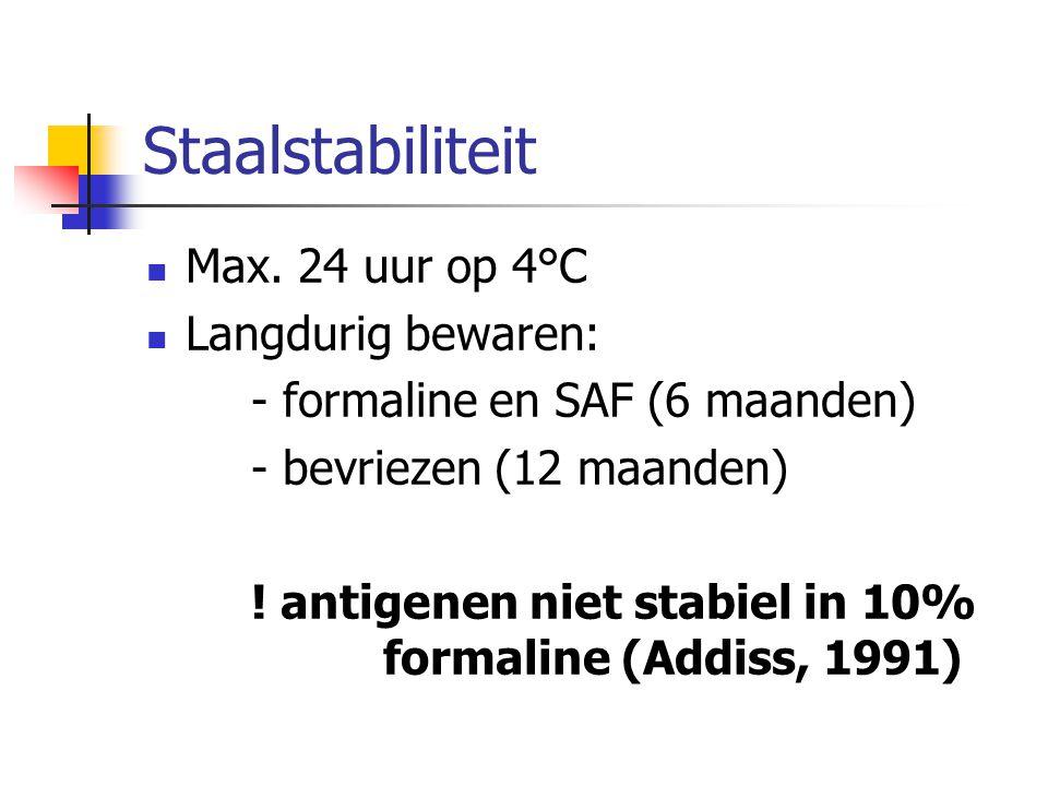 Staalstabiliteit Max. 24 uur op 4°C Langdurig bewaren: - formaline en SAF (6 maanden) - bevriezen (12 maanden) ! antigenen niet stabiel in 10% formali