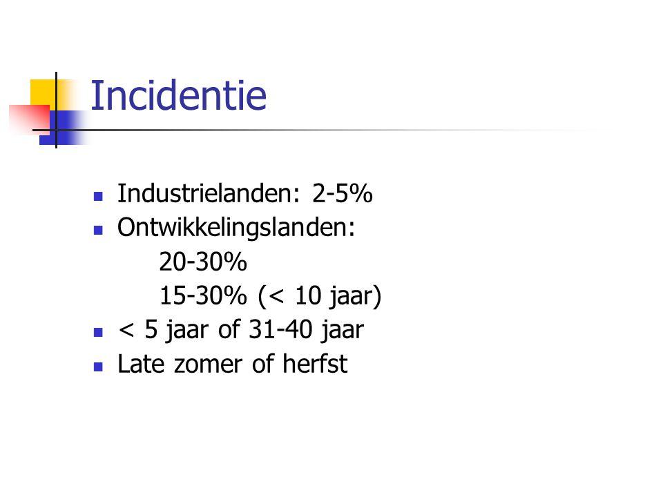 Incidentie Industrielanden: 2-5% Ontwikkelingslanden: 20-30% 15-30% (< 10 jaar) < 5 jaar of 31-40 jaar Late zomer of herfst