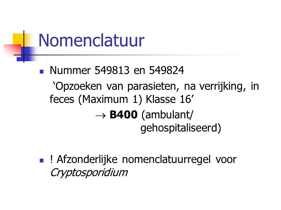 Nomenclatuur Nummer 549813 en 549824 'Opzoeken van parasieten, na verrijking, in feces (Maximum 1) Klasse 16'  B400 (ambulant/ gehospitaliseerd) ! Af