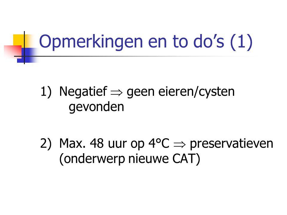 Opmerkingen en to do's (1) 1)Negatief  geen eieren/cysten gevonden 2)Max. 48 uur op 4°C  preservatieven (onderwerp nieuwe CAT)