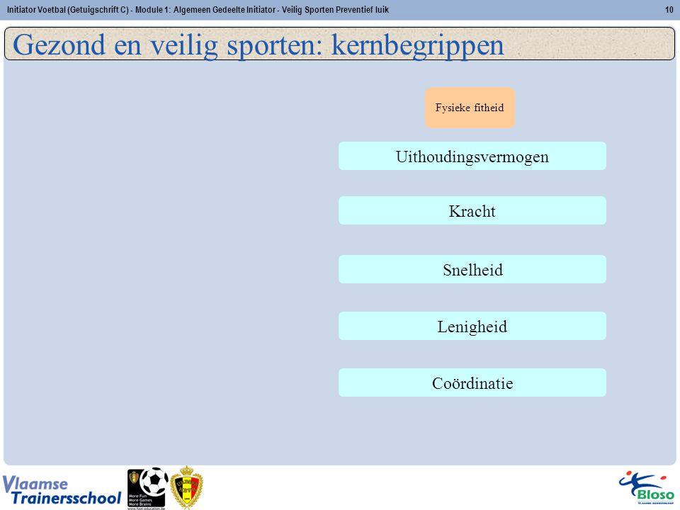 Initiator Voetbal (Getuigschrift C) - Module 1: Algemeen Gedeelte Initiator - Veilig Sporten Preventief luik10 Uithoudingsvermogen Kracht Snelheid Len