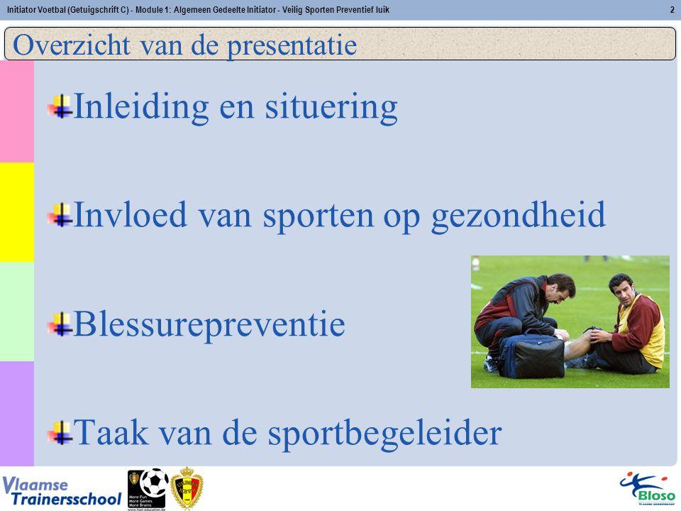 Initiator Voetbal (Getuigschrift C) - Module 1: Algemeen Gedeelte Initiator - Veilig Sporten Preventief luik2 Inleiding en situering Invloed van sport