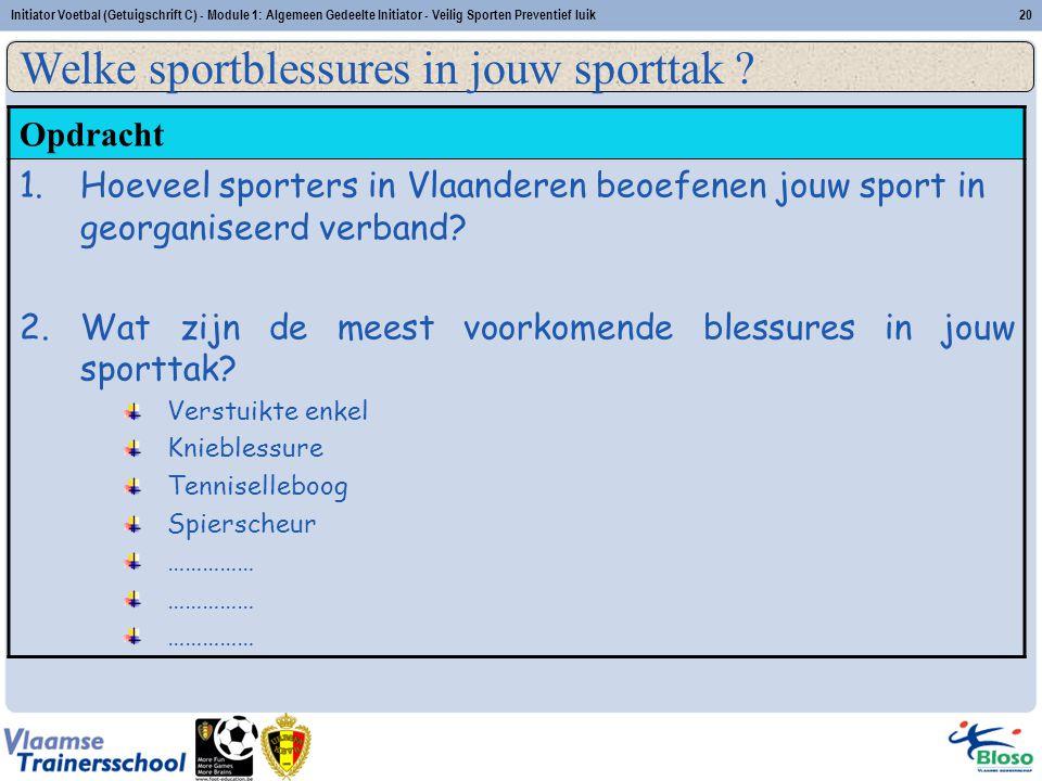 Initiator Voetbal (Getuigschrift C) - Module 1: Algemeen Gedeelte Initiator - Veilig Sporten Preventief luik20 Opdracht 1.Hoeveel sporters in Vlaander