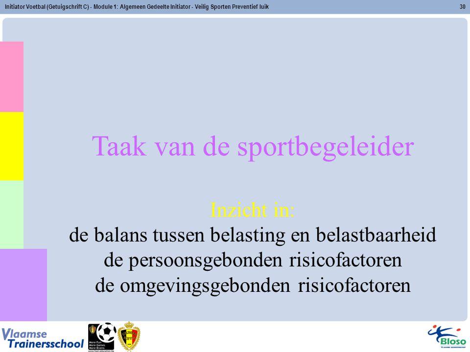 Initiator Voetbal (Getuigschrift C) - Module 1: Algemeen Gedeelte Initiator - Veilig Sporten Preventief luik30 Taak van de sportbegeleider Inzicht in: