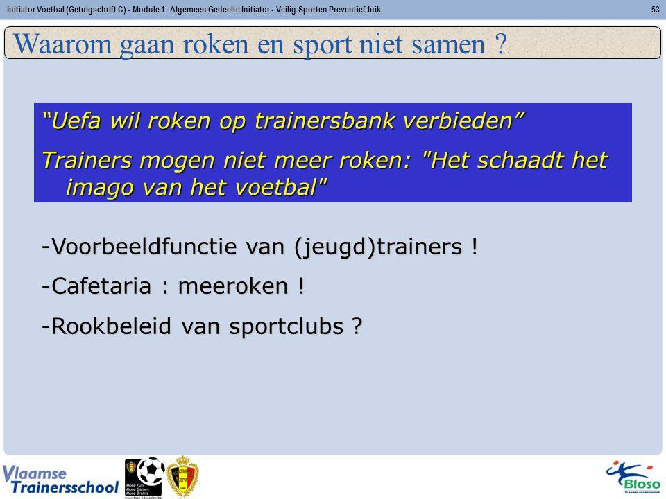 Initiator Voetbal (Getuigschrift C) - Module 1: Algemeen Gedeelte Initiator - Veilig Sporten Preventief luik53 Veilig sporten: Preventief luik Waarom