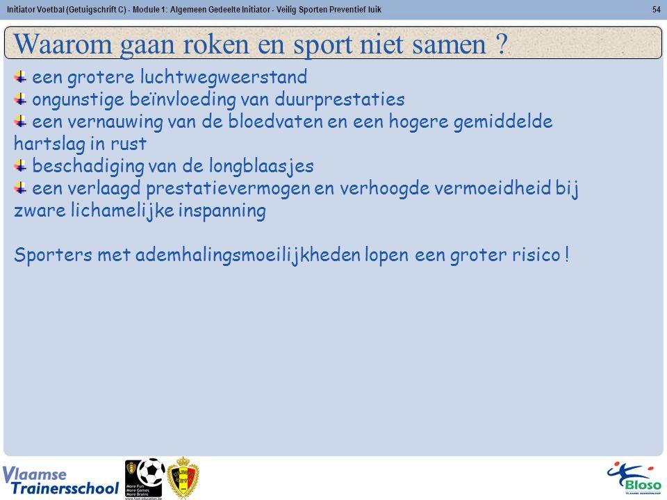 Initiator Voetbal (Getuigschrift C) - Module 1: Algemeen Gedeelte Initiator - Veilig Sporten Preventief luik54 Veilig sporten: Preventief luik Waarom