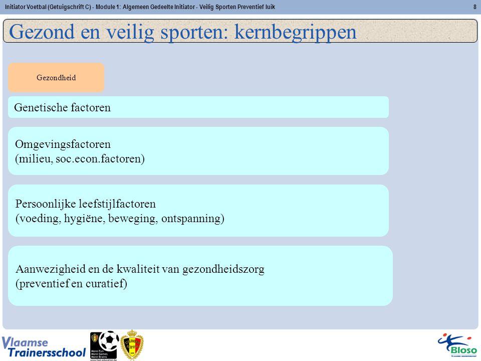 Initiator Voetbal (Getuigschrift C) - Module 1: Algemeen Gedeelte Initiator - Veilig Sporten Preventief luik8 Genetische factoren Persoonlijke leefsti