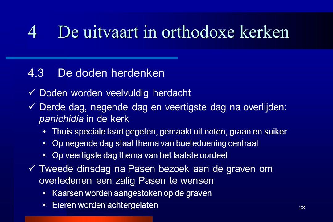 28 4De uitvaart in orthodoxe kerken 4.3De doden herdenken Doden worden veelvuldig herdacht Derde dag, negende dag en veertigste dag na overlijden: pan