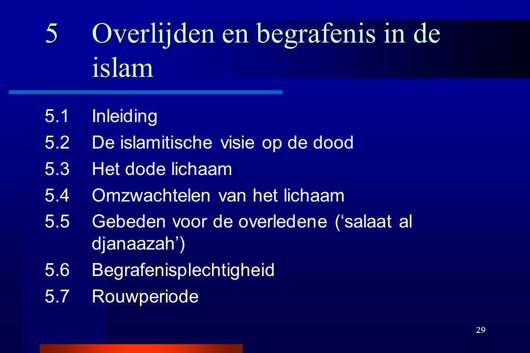 29 5Overlijden en begrafenis in de islam 5.1Inleiding 5.2De islamitische visie op de dood 5.3Het dode lichaam 5.4Omzwachtelen van het lichaam 5.5Gebed