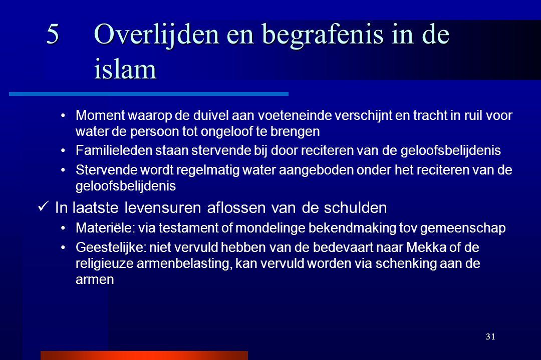 31 5Overlijden en begrafenis in de islam Moment waarop de duivel aan voeteneinde verschijnt en tracht in ruil voor water de persoon tot ongeloof te br