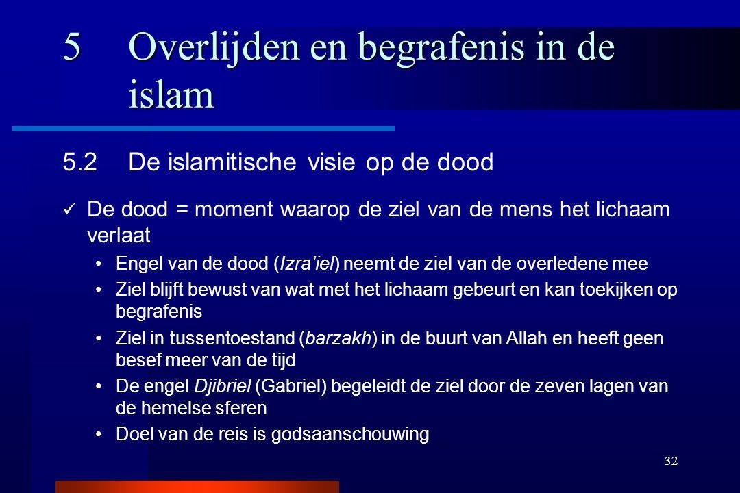 32 5Overlijden en begrafenis in de islam 5.2De islamitische visie op de dood De dood = moment waarop de ziel van de mens het lichaam verlaat Engel van