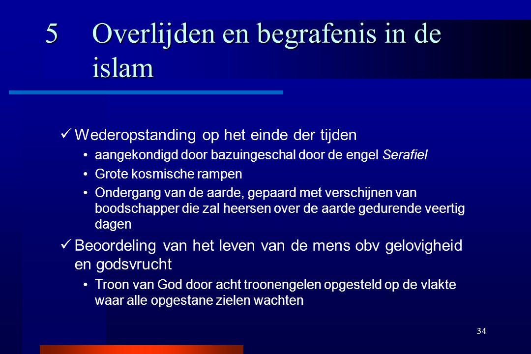 34 5Overlijden en begrafenis in de islam Wederopstanding op het einde der tijden aangekondigd door bazuingeschal door de engel Serafiel Grote kosmisch