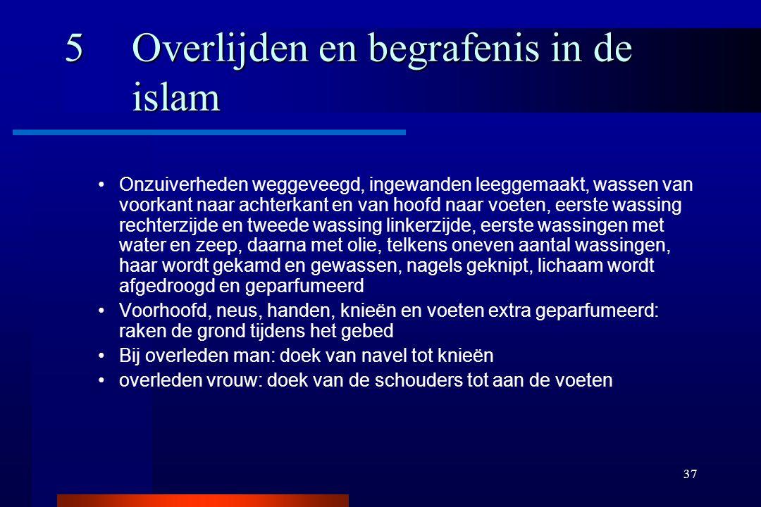 37 5Overlijden en begrafenis in de islam Onzuiverheden weggeveegd, ingewanden leeggemaakt, wassen van voorkant naar achterkant en van hoofd naar voete