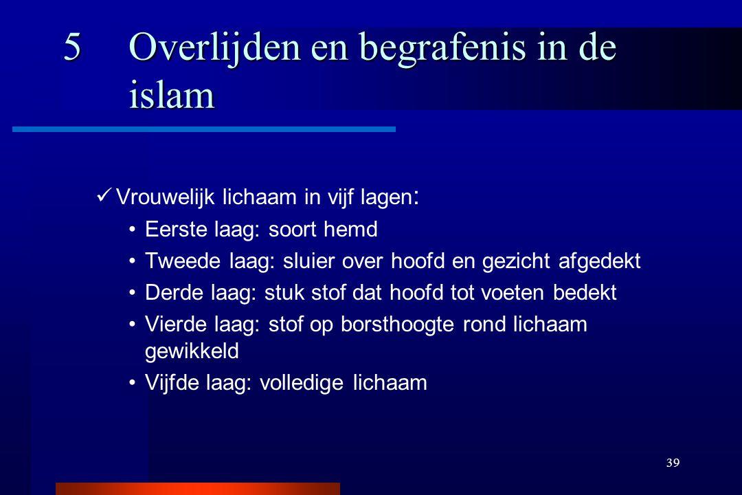39 5Overlijden en begrafenis in de islam Vrouwelijk lichaam in vijf lagen : Eerste laag: soort hemd Tweede laag: sluier over hoofd en gezicht afgedekt