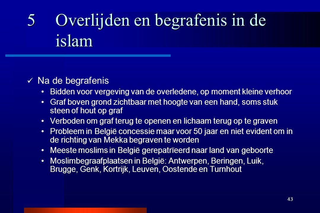 43 5Overlijden en begrafenis in de islam Na de begrafenis Bidden voor vergeving van de overledene, op moment kleine verhoor Graf boven grond zichtbaar