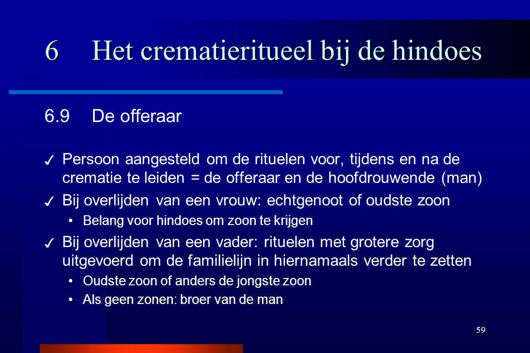 59 6Het crematieritueel bij de hindoes 6.9De offeraar ✓ Persoon aangesteld om de rituelen voor, tijdens en na de crematie te leiden = de offeraar en d
