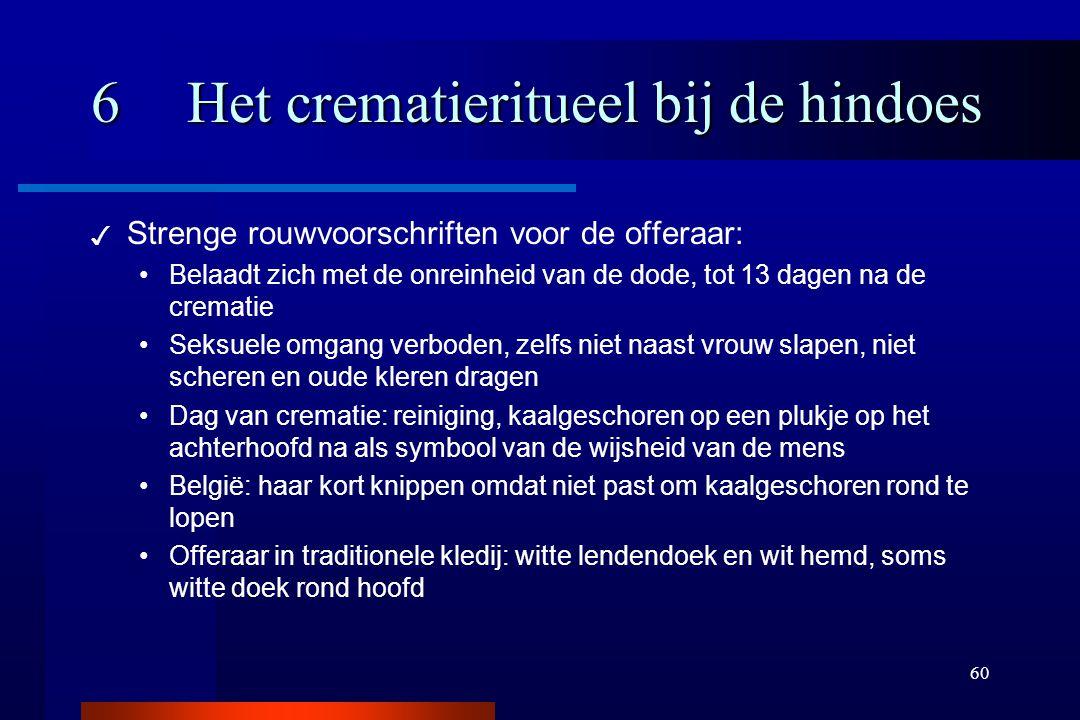 60 6Het crematieritueel bij de hindoes ✓ Strenge rouwvoorschriften voor de offeraar: Belaadt zich met de onreinheid van de dode, tot 13 dagen na de cr