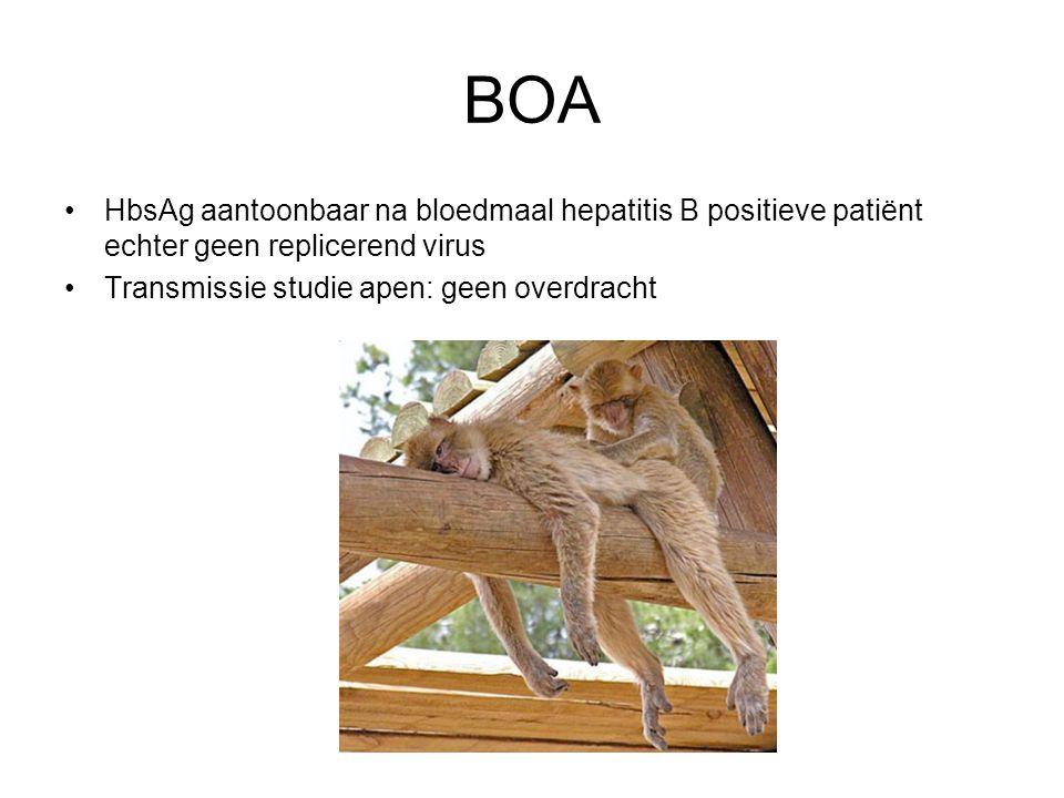 BOA HbsAg aantoonbaar na bloedmaal hepatitis B positieve patiënt echter geen replicerend virus Transmissie studie apen: geen overdracht