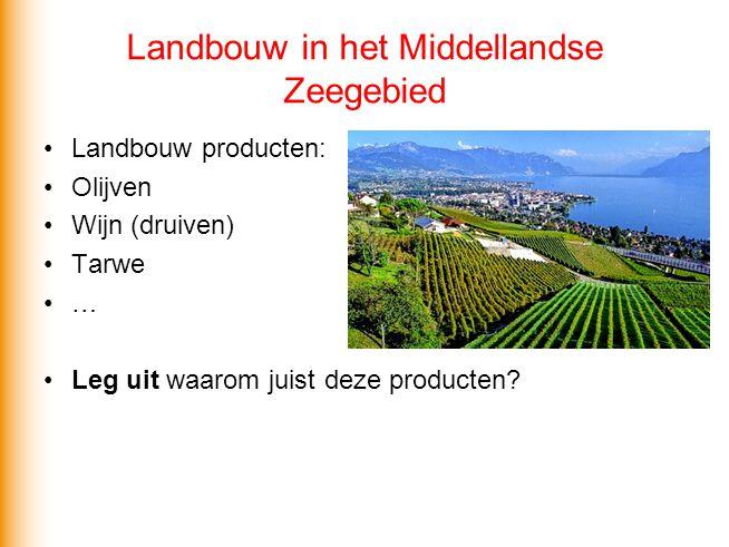 Landbouw in het Middellandse Zeegebied Landbouw producten: Olijven Wijn (druiven) Tarwe … Leg uit waarom juist deze producten?