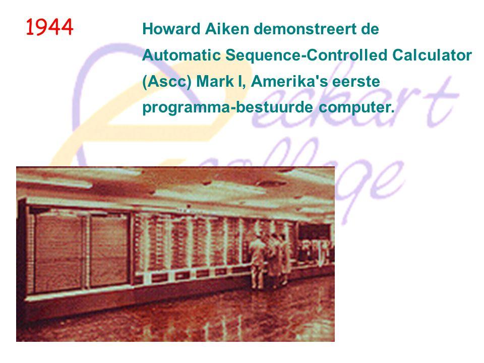 1939 John V. Atanasoff ontwerpt en bouwt samen met zijn assistent Clifford Berry de Atanasoff Berry Computer (ABC), een werkend prototype van de eerst