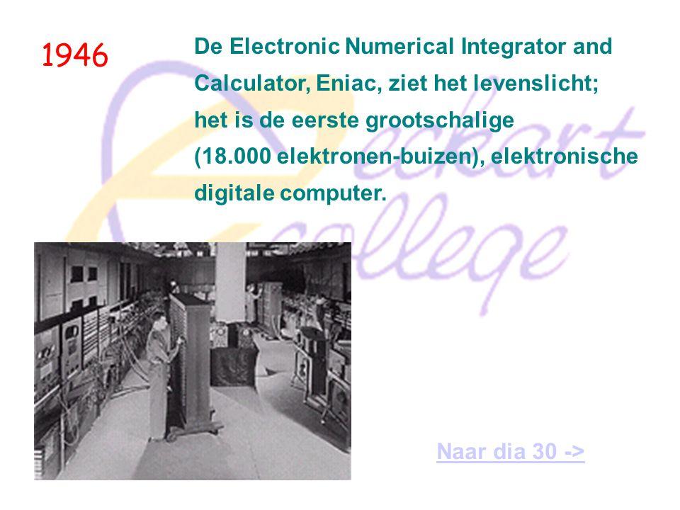 1944 Howard Aiken demonstreert de Automatic Sequence-Controlled Calculator (Ascc) Mark I, Amerika's eerste programma-bestuurde computer.