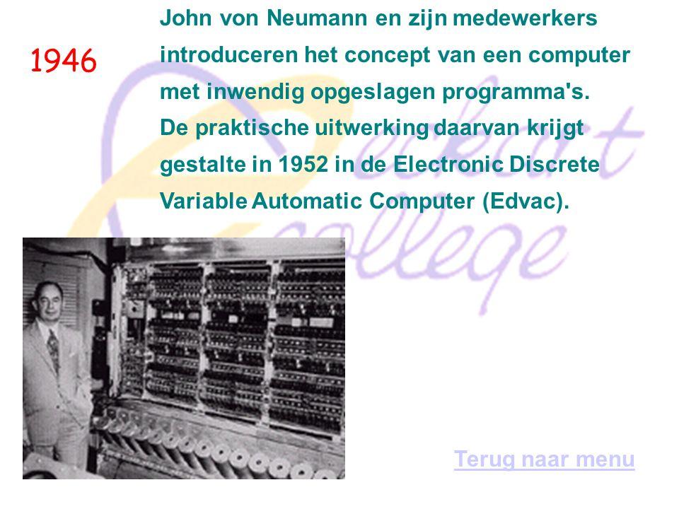 1946 De Electronic Numerical Integrator and Calculator, Eniac, ziet het levenslicht; het is de eerste grootschalige (18.000 elektronen-buizen), elektr