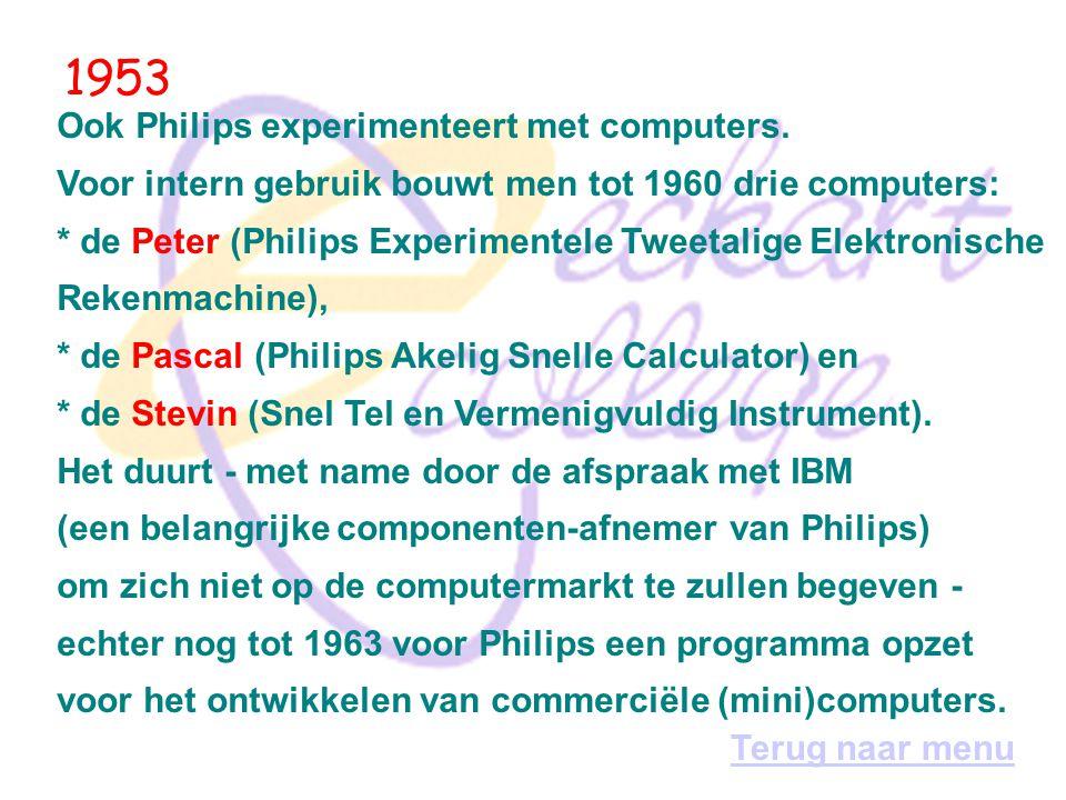 1952 IBM, tot dan toe vooral bekend als fabrikant van tabelleermachines, bouwt zijn eerste computer: de 701. Het project wordt geleid Thomas Watson jr