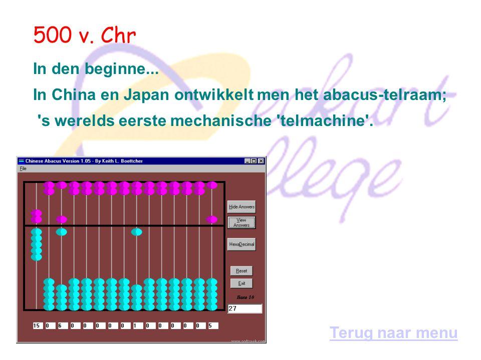 Geschiedenis van de computer Periode 1: van 500 v. Chr - 1900 Periode 2: van 1900 - 1945 Periode 3: van 1945 - 1970 Periode 4: van 1970 - 1990 Periode