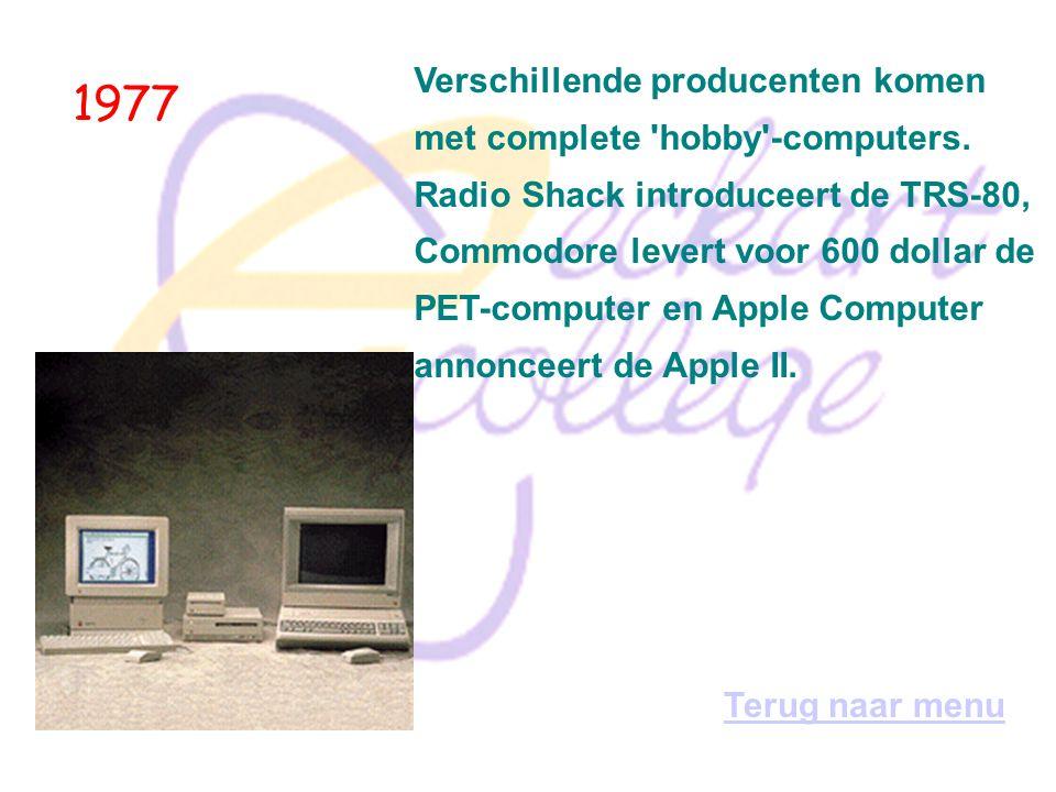 1976 Stephen Wozniak en Steve Jobs werken in een garage aan de constructie van de eerste Apple-computer. Terug naar menu