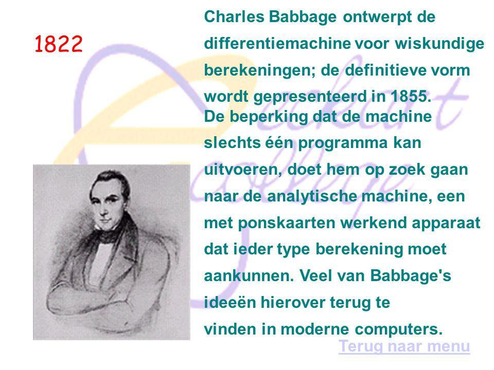 1822 Charles Babbage ontwerpt de differentiemachine voor wiskundige berekeningen; de definitieve vorm wordt gepresenteerd in 1855.