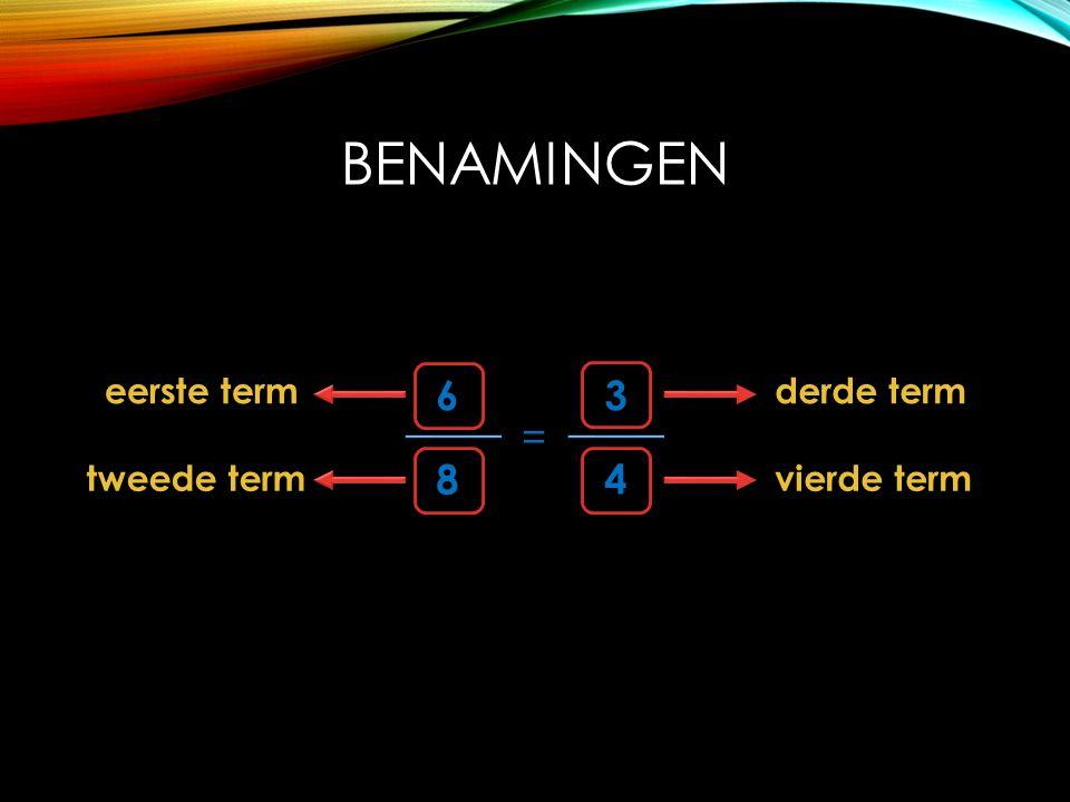 BENAMINGEN 6 8 = 4 3 eerste term tweede term derde term vierde term