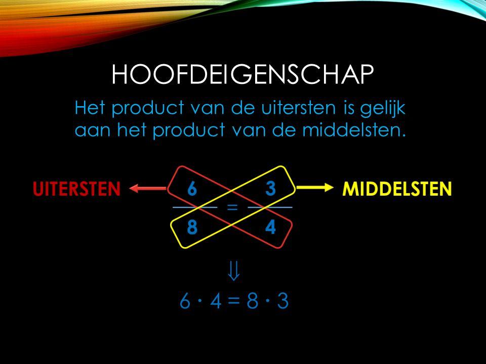HOOFDEIGENSCHAP Het product van de uitersten is gelijk aan het product van de middelsten.  6  4 = 8  3