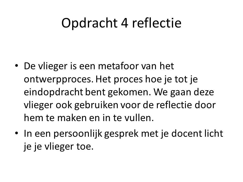 Opdracht 4 reflectie De vlieger is een metafoor van het ontwerpproces. Het proces hoe je tot je eindopdracht bent gekomen. We gaan deze vlieger ook ge