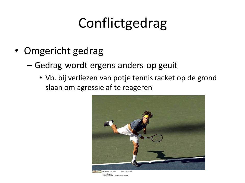 Conflictgedrag Omgericht gedrag – Gedrag wordt ergens anders op geuit Vb. bij verliezen van potje tennis racket op de grond slaan om agressie af te re