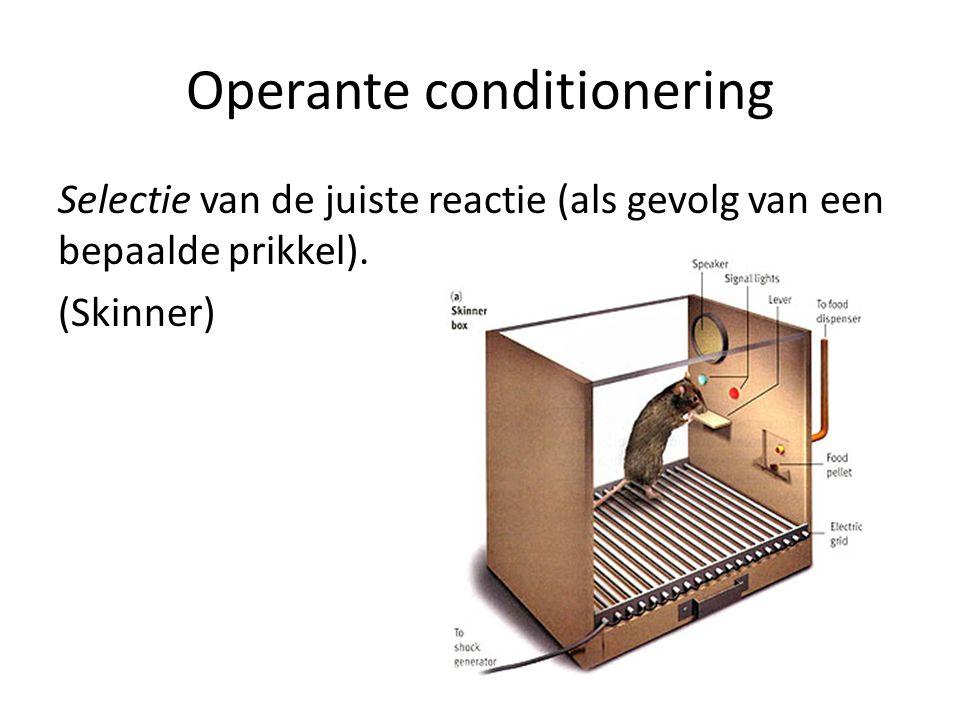 Operante conditionering Selectie van de juiste reactie (als gevolg van een bepaalde prikkel).