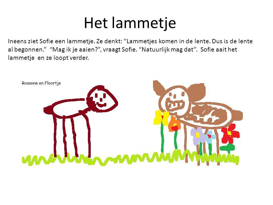 """Het lammetje Ineens ziet Sofie een lammetje. Ze denkt: """"Lammetjes komen in de lente. Dus is de lente al begonnen."""" """"Mag ik je aaien?"""", vraagt Sofie. """""""
