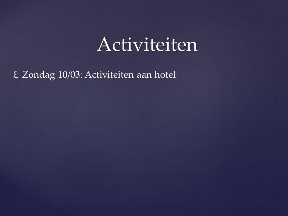 Activiteiten ξZondag 10/03: Activiteiten aan hotel