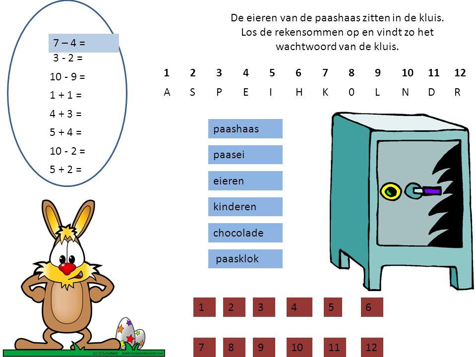 De eieren van de paashaas zitten in de kluis. Los de rekensommen op en vindt zo het wachtwoord van de kluis. 7 – 4 = paashaas paasei eieren kinderen c