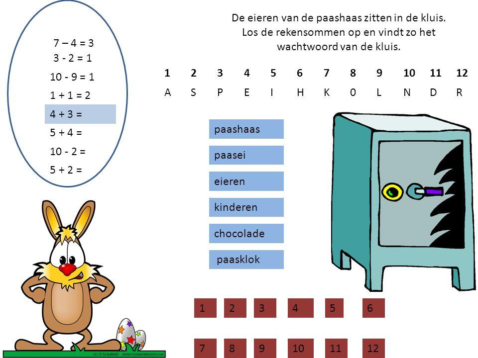 De eieren van de paashaas zitten in de kluis. Los de rekensommen op en vindt zo het wachtwoord van de kluis. 7 – 4 = 3 paashaas paasei eieren kinderen