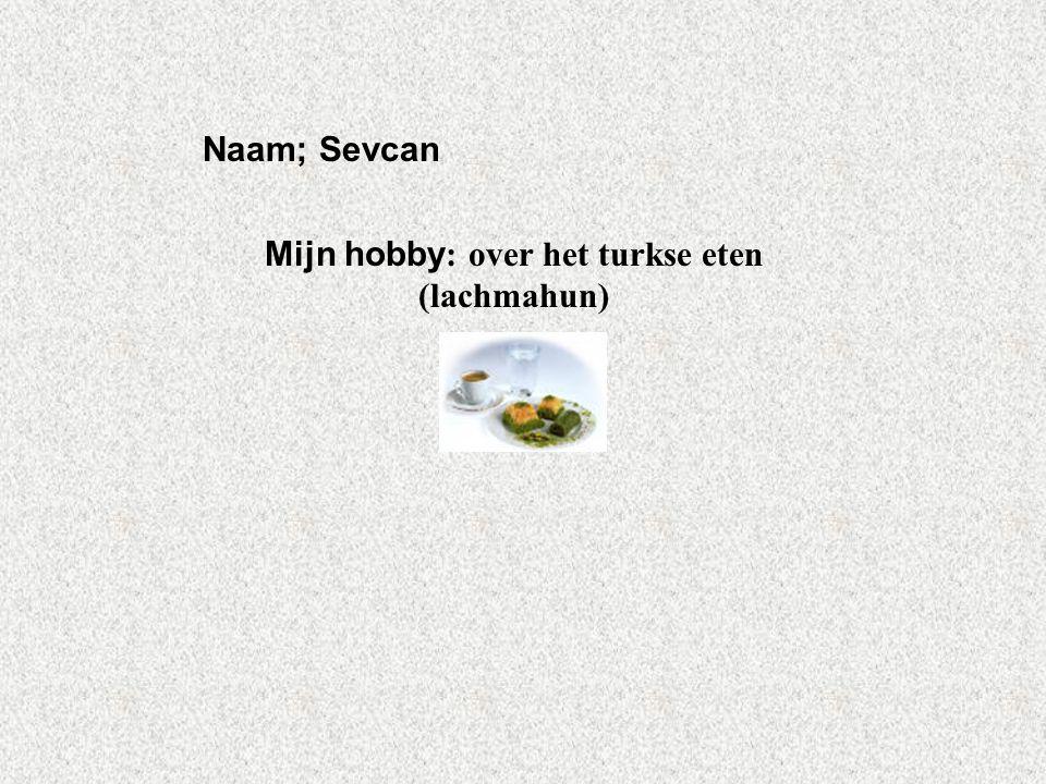 """Naam; Sevcan Mijn hobby : over het turkse eten (lachmahun) Klik op """"Naam"""". Vul je naam in. Doe hetzelfde met """"hobby"""" Hier kun je een foto / tekening I"""