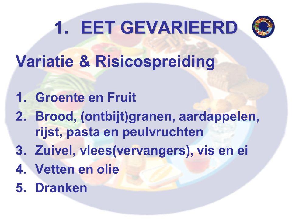 1.EET GEVARIEERD Variatie & Risicospreiding 1.Groente en Fruit 2.Brood, (ontbijt)granen, aardappelen, rijst, pasta en peulvruchten 3.Zuivel, vlees(vervangers), vis en ei 4.Vetten en olie 5.Dranken