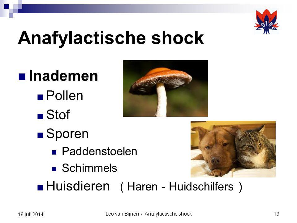 Leo van Bijnen / Anafylactische shock13 18 juli 2014 Anafylactische shock Inademen ■ Pollen ■ Stof ■ Sporen Paddenstoelen Schimmels ■ Huisdieren ( Haren - Huidschilfers )