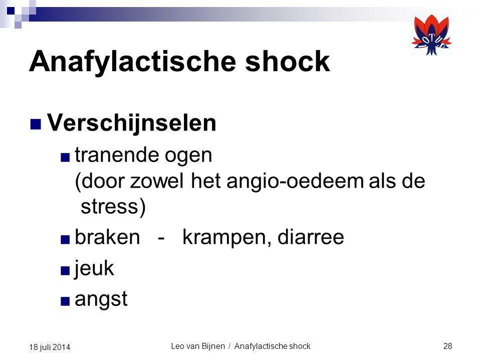 Leo van Bijnen / Anafylactische shock28 18 juli 2014 Anafylactische shock Verschijnselen ■ tranende ogen (door zowel het angio-oedeem als de stress) ■