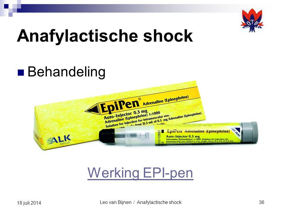 Leo van Bijnen / Anafylactische shock36 18 juli 2014 Anafylactische shock Behandeling Werking EPI-pen