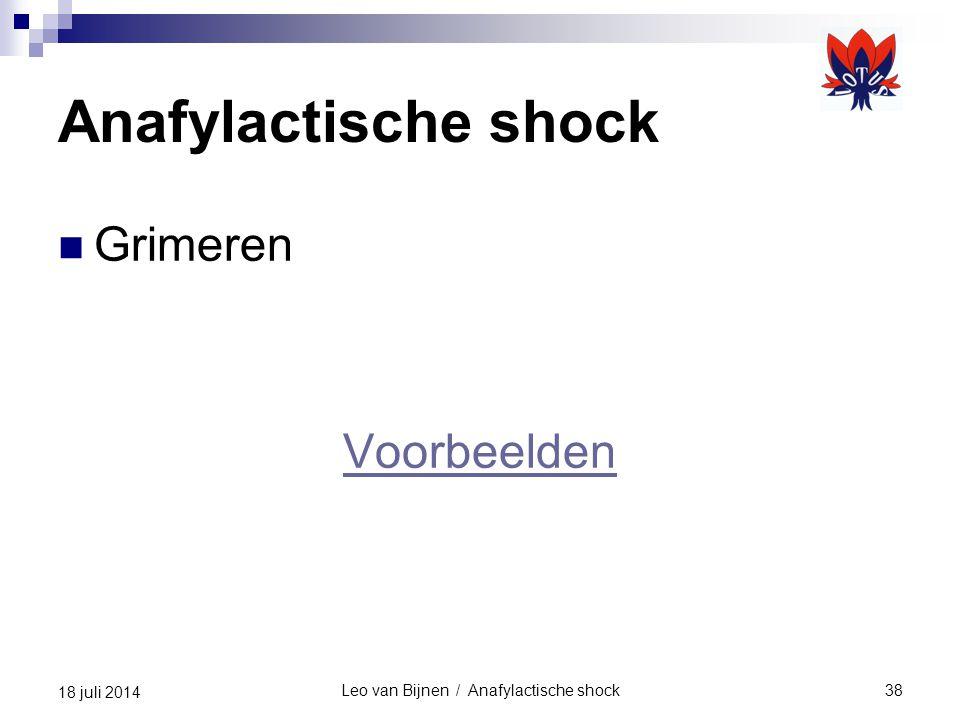Leo van Bijnen / Anafylactische shock38 18 juli 2014 Anafylactische shock Grimeren Voorbeelden