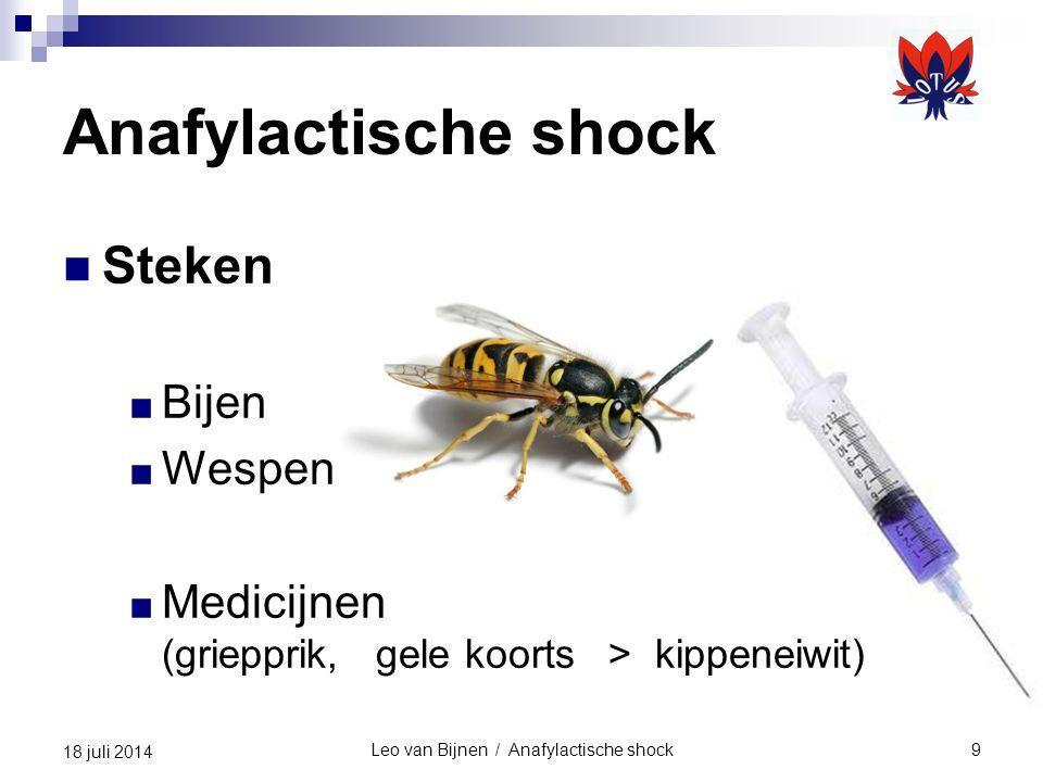 Leo van Bijnen / Anafylactische shock9 18 juli 2014 Anafylactische shock Steken ■ Bijen ■ Wespen ■ Medicijnen (griepprik, gele koorts > kippeneiwit)