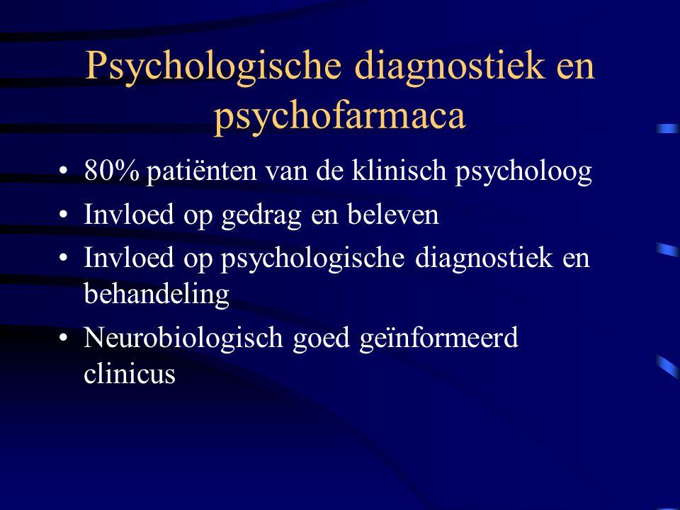Psychologische diagnostiek en psychofarmaca 80% patiënten van de klinisch psycholoog Invloed op gedrag en beleven Invloed op psychologische diagnostie