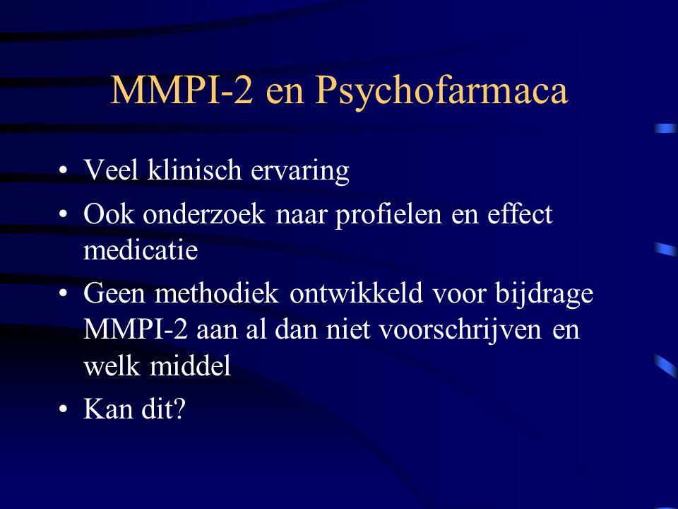 MMPI-2 en Psychofarmaca Veel klinisch ervaring Ook onderzoek naar profielen en effect medicatie Geen methodiek ontwikkeld voor bijdrage MMPI-2 aan al