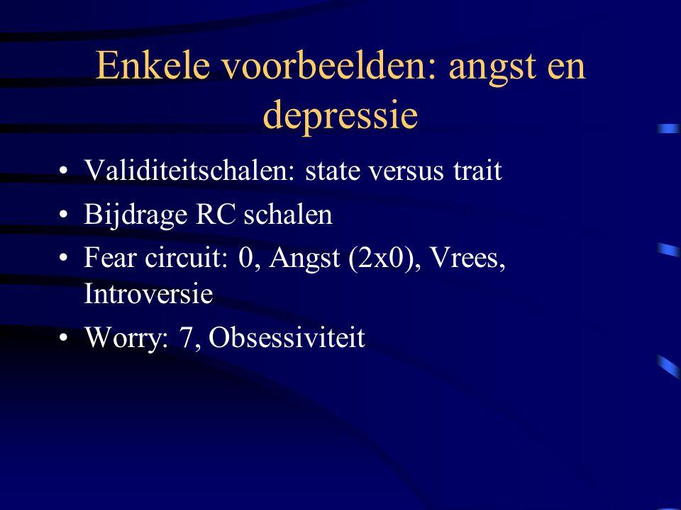 Enkele voorbeelden: angst en depressie Validiteitschalen: state versus trait Bijdrage RC schalen Fear circuit: 0, Angst (2x0), Vrees, Introversie Worr