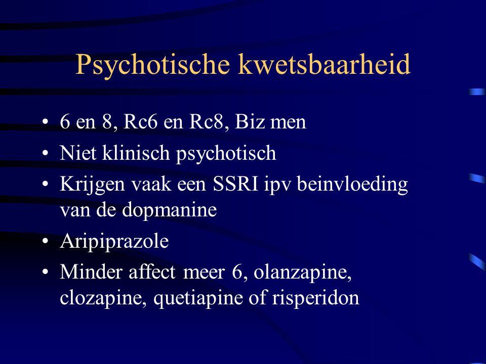 Psychotische kwetsbaarheid 6 en 8, Rc6 en Rc8, Biz men Niet klinisch psychotisch Krijgen vaak een SSRI ipv beinvloeding van de dopmanine Aripiprazole
